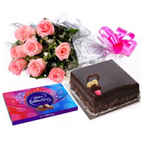 Sweetest of all Arrangement of Pink Roses, Cake and Cadbury Celebration to Barasat