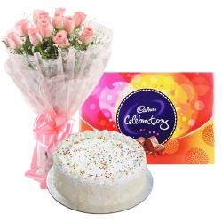 Beautiful Arrangement of Pink Rose, Cadbury Celebration and Cake to Puruliya