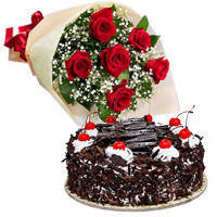 B Day Delight Black Forest Cake with Elegant Red Rose Bouquet to Cooch behar