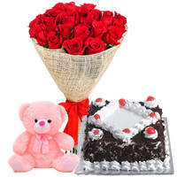 B Day Wishes Gift of Red Rose Bouquet with Fresh Black Forest Cake and Small Teddy to Cooch behar