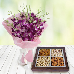 Anniversary Style Orchids Bouquet with Healthy Dry Fruits to Cooch behar