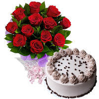 Fragrant Red Roses Bouquet with Coffee Cake to Cooch behar