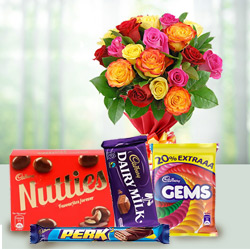 Crunchy mixed Cadburys Chocolate with charming Roses to Burdwan