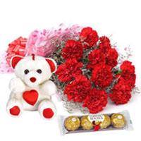 Charming Bouquet of Carnations with Teddy N Ferrero Rocher to Cooch behar