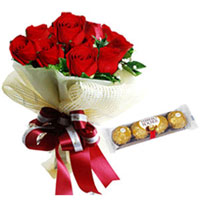 Expressive Bouquet of Red Roses with Ferrero Rocher to Cooch behar