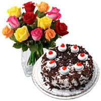 Passionate 24 Mixed Roses with 1 Kg Black Forest Cake from Taj or 5 Star Bakery to North 24 parganas
