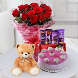 Tempting Cake, Chocolate n Flowers for Birthday to Cooch behar