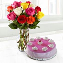 Yummy Cake n Roses for Mom to Cooch behar