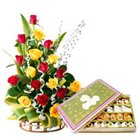 Tender Combo Love Gift of 500 Gr. Sweets with 20 Colorful Roses to Hooghly
