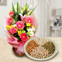 Radiant Seasonal Flowers with Dry Fruits to Dumdum