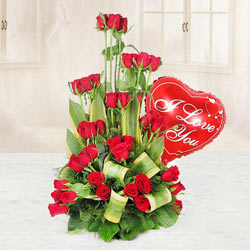 Lovely Heart Shaped Red Balloon and a Bouquet of 36 Red Roses to Nadia