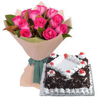 Dazzling 12 Pink Roses Bunch with 1/2 Kg Black Forest Cake to Darjiling
