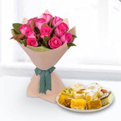 Mixed Sweets Box and Pink Roses Bouquet to Howrah
