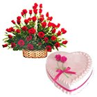 Majestic charming Red Roses with tasty delicious Love Cake to Salt lake