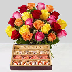 Gorgeous mixed Roses and tasty assorted Sweets to Madhyamgram