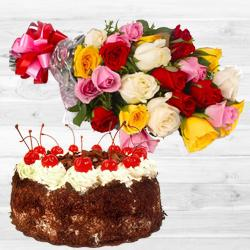 Chromatic mixed Roses bunch with mouthwatering Black Forest Cake to Darjiling
