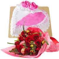 Exclusive <font color =#FF0000> Dutch Red </font>   Roses  Bouquet with Heart Shaped Cake to Howrah