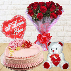 Captivating 12 Dutch Red Roses Bunch with Teddy Bear, 1 Lb Love Cake and Heart Shaped Balloons to Hooghly