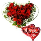Dutch Red Roses in Heart Shape Arrangement with 2 Heart Shape Balloons to Puruliya