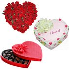 Amazing 24 Red Roses with 1/2 Kg Heart Shaped Cake and Heart Shaped Chocolate Box to Garia