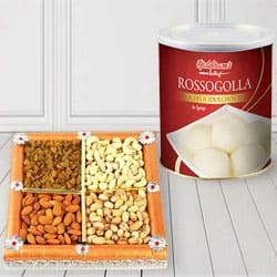 500 gms Assorted Dry Fruits with 1 Kg Haldiram Rasgulla to Lake town