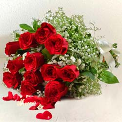 Expressive Blooming Happiness Bouquet of 12 Red Roses to Dumdum