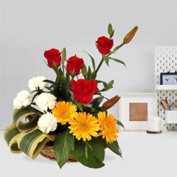 Enticing Basket Decked with Seasonal Flowers to Burdwan