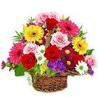 Lovely Basket of Artistic Flowers with Cheerful Greetings to Madhyamgram
