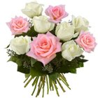 Effervescent Pink and White Roses Bunch to Burdwan