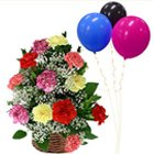Premium Quality Mixed Carnations Basket with Balloons to Puruliya
