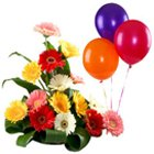 Lovely Mixed Gerberas Bouquet with Balloons to South 24 parganas