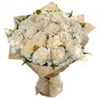Alluring Hearth-Side Bouquet of White Carnations to Garia
