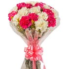 Heavenly Bundle of White N Pink Carnations to Garia