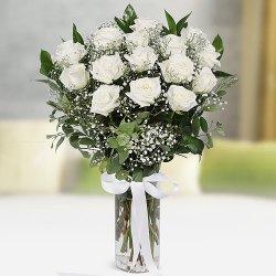 Glorious Vase of White Roses to Madhyamgram