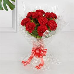 Beautiful Red Coloured Carnation Bouquet to Behala