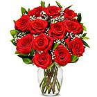 Treasured Display of Blooming Red Rose in a Glass Vase to Murshidabad