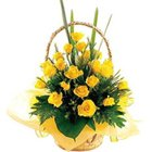 Divine Presentation of Yellow Roses in a Basket to Burdwan