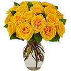 Majestic Collection of Yellow Roses in a Glass Vase to Salt lake