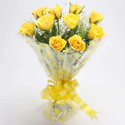 Modern Wishful Yellow Roses Blessings Bunch to Howrah