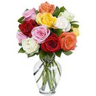 Aromatic Compilation of Mixed Roses in a Glass Vase to Burdwan