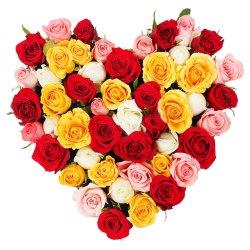 Joyful Hearty Arrangement of Thirty Mixed Roses to Barasat