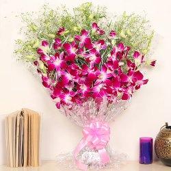 Long-Lasting Rich Purple Orchids Bouquet to Siliguri