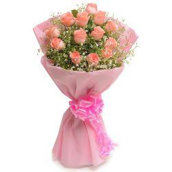 Tender Elegance Pink Roses Bouquet to Howrah