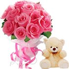 Sophisticated 12 Pink Roses Bouquet and Small Teddy Bear to Darjiling