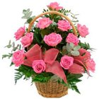 Artful Heartily Expressions of Pink Roses in Basket to Darjiling