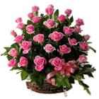 Vibrant Happiness Forever Pink Roses in a Basket to Garia