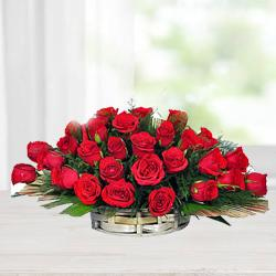 Silky-Smooth Red Roses Arrangement in a Basket to Uttar dinajpur