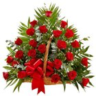 Beautiful Arrangement of Thirty Red Roses in a Basket to Garia
