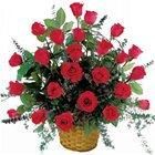 Radiant Presentation of Red Roses in a Basket to Bakura