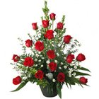 Sophisticated Basket of 18 Red Colourful Roses to Garia